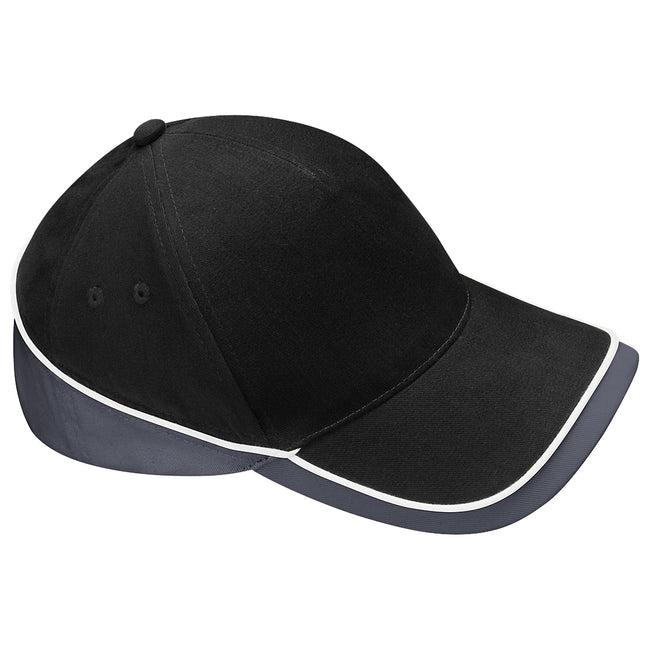 Black-Graphite Grey - Front - Beechfield Unisex Teamwear Competition Cap Baseball - Headwear