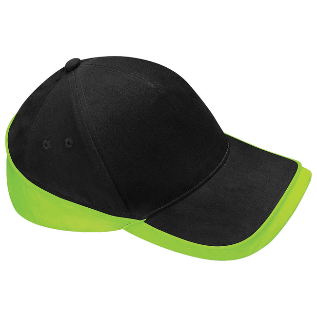 Black-Lime Green - Front - Beechfield Unisex Teamwear Competition Cap Baseball - Headwear