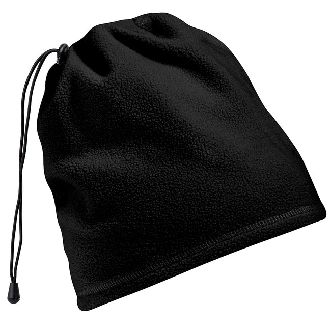 Black - Front - Beechfield Unisex Suprafleece™ Anti-Pilling 2in1 Winter Hat and Neck Warmer-Snood