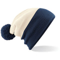 Off White-French Navy - Back - Beechfield Big Boys Snowstar Duo Two-Tone Winter Beanie Hat