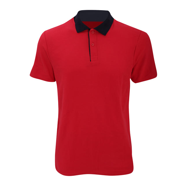 Red- Navy - Front - Anvil Mens Fashion Double Pique Plain Polo Shirt (210 GSM)