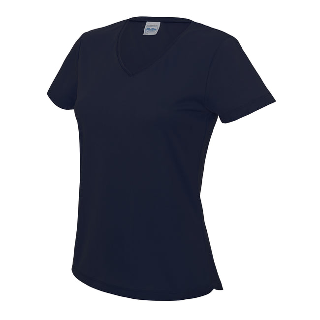 French Navy - Front - AWDis Cool V Neck Girlie Cool Short Sleeve T-Shirt