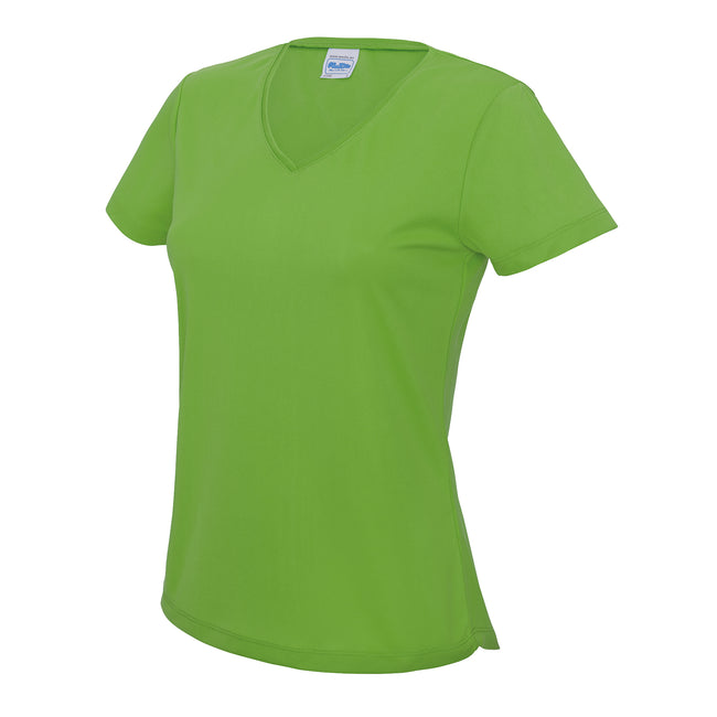 Lime Green - Front - AWDis Cool V Neck Girlie Cool Short Sleeve T-Shirt