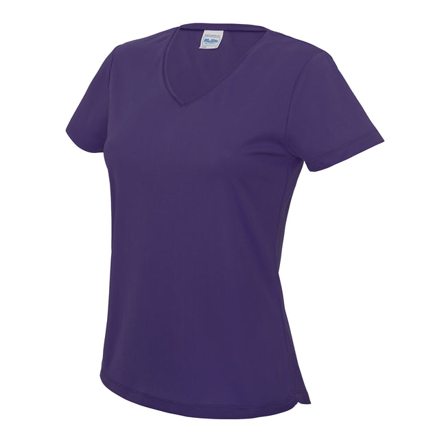 Purple - Front - AWDis Cool V Neck Girlie Cool Short Sleeve T-Shirt