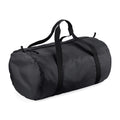 Black-Black - Front - BagBase Packaway Barrel Bag-Duffel Water Resistant Travel Bag (32 Liters)