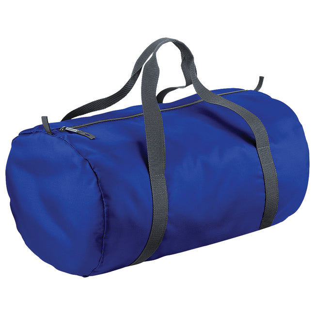 Bright Royal - Front - BagBase Packaway Barrel Bag-Duffel Water Resistant Travel Bag (32 Liters)