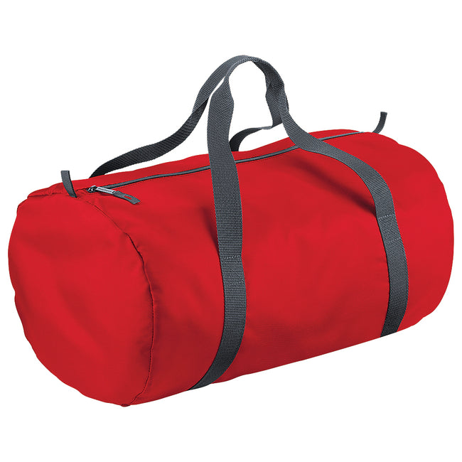 Classic red - Front - BagBase Packaway Barrel Bag-Duffel Water Resistant Travel Bag (32 Liters)