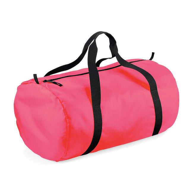 Fluorescent Pink - Black - Front - BagBase Packaway Barrel Bag-Duffel Water Resistant Travel Bag (32 Liters)