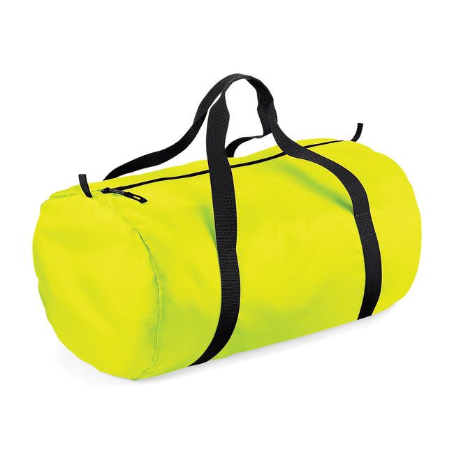 Fluorescent Yellow- Black - Front - BagBase Packaway Barrel Bag-Duffel Water Resistant Travel Bag (32 Liters)