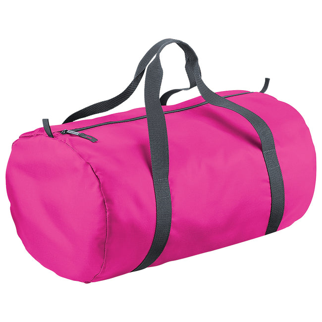 Fuchsia - Front - BagBase Packaway Barrel Bag-Duffel Water Resistant Travel Bag (32 Liters)