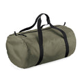 Olive Green - Black - Front - BagBase Packaway Barrel Bag-Duffel Water Resistant Travel Bag (32 Liters)