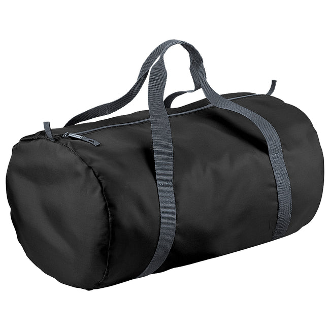 Black - Front - BagBase Packaway Barrel Bag-Duffel Water Resistant Travel Bag (32 Liters)