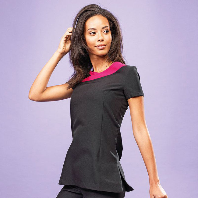 Black- Hot Pink - Side - Premier Womens-Ladies Ivy Beauty And Spa Tunic (Contrast Neckline)