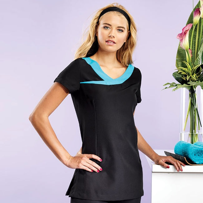 Black- Turquoise - Back - Premier Womens-Ladies Ivy Beauty And Spa Tunic (Contrast Neckline)