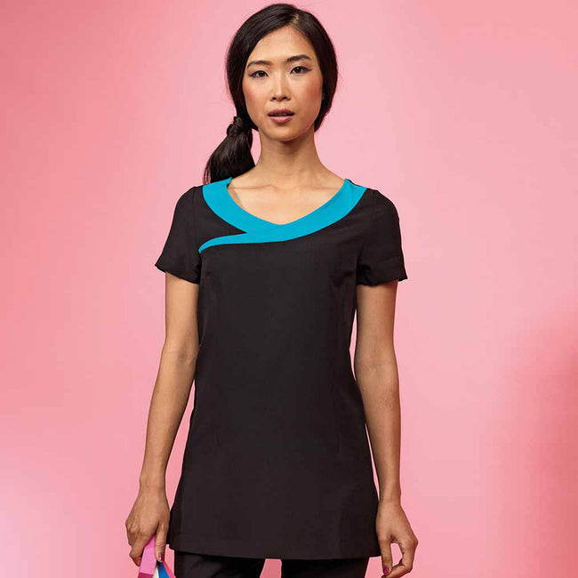 Black- Turquoise - Side - Premier Womens-Ladies Ivy Beauty And Spa Tunic (Contrast Neckline)