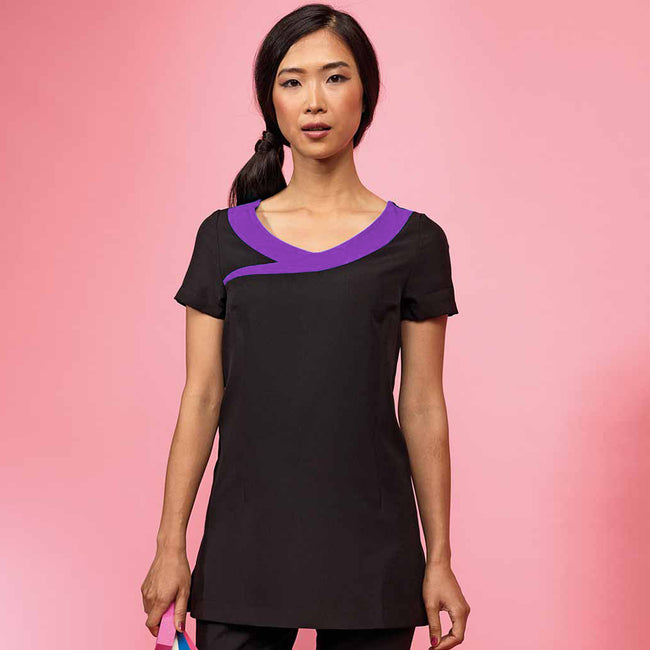 Black - Purple - Back - Premier Womens-Ladies Ivy Beauty And Spa Tunic (Contrast Neckline)