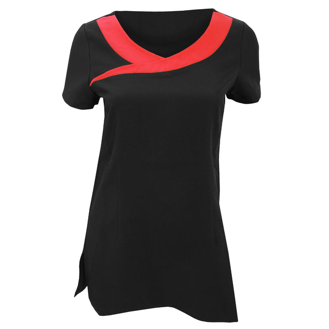 Black - Strawberry Red - Front - Premier Womens-Ladies Ivy Beauty And Spa Tunic (Contrast Neckline)