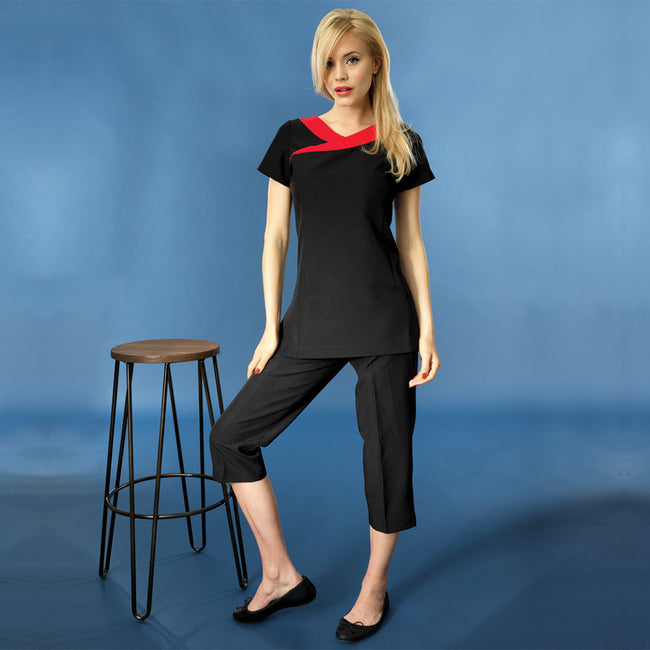 Black - Strawberry Red - Side - Premier Womens-Ladies Ivy Beauty And Spa Tunic (Contrast Neckline)