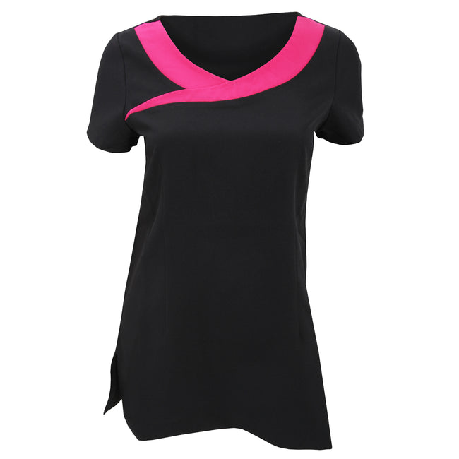 Black- Hot Pink - Front - Premier Womens-Ladies Ivy Beauty And Spa Tunic (Contrast Neckline)