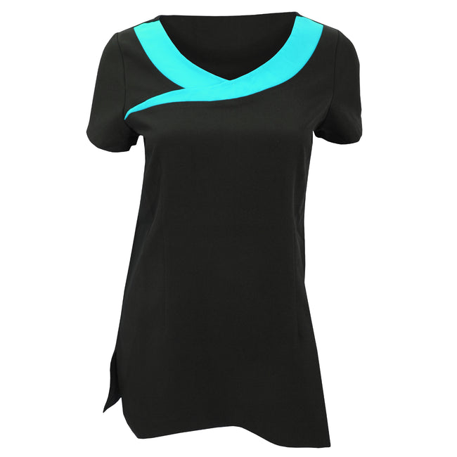 Black- Turquoise - Front - Premier Womens-Ladies Ivy Beauty And Spa Tunic (Contrast Neckline)