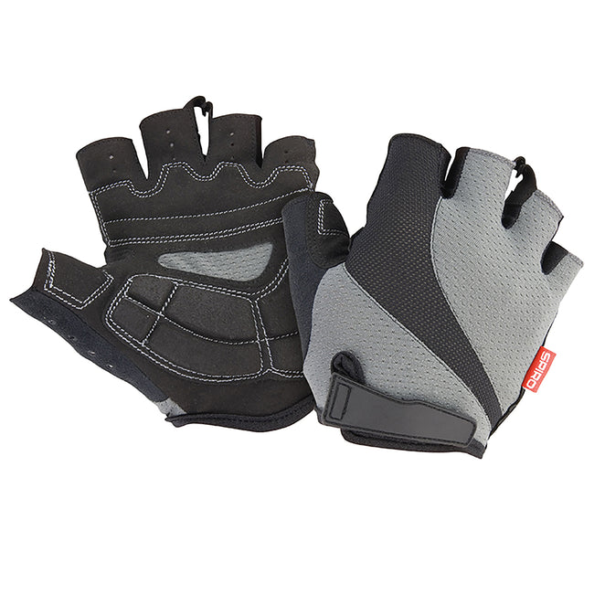 Grey- Black - Front - Spiro Unisex Short Sports - Cycling Gloves