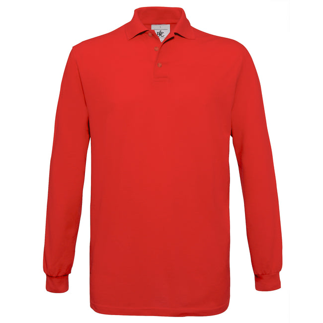 Red - Front - B&C Mens Safran Long Sleeve Cotton Polo Shirt