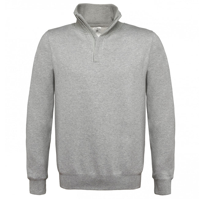 Heather Grey - Front - B&C Mens ID.004 1-4 Zip Sweatshirt