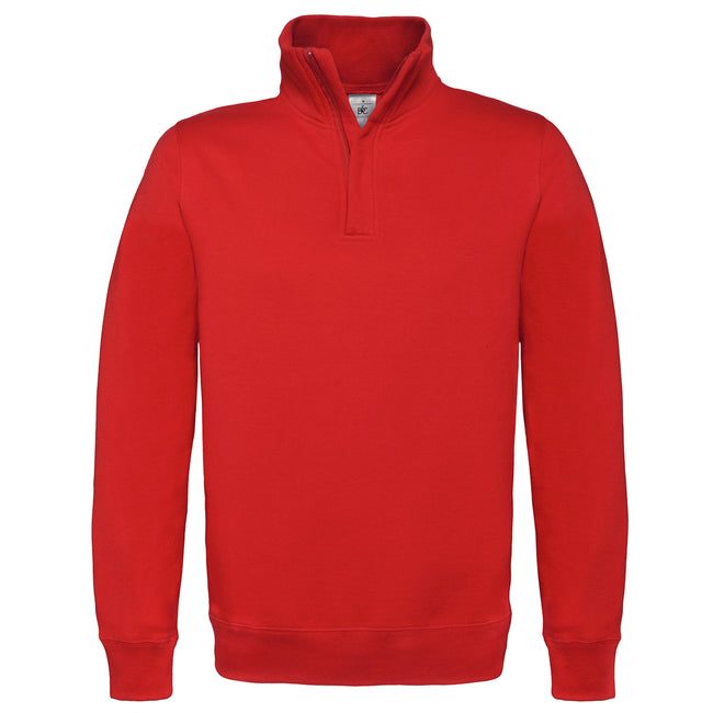 Red - Front - B&C Mens ID.004 1-4 Zip Sweatshirt