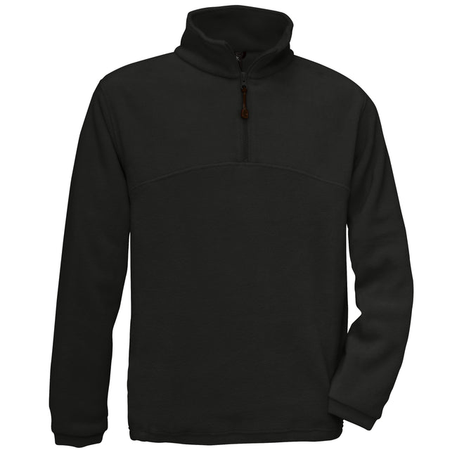 Black - Front - B&C Mens Highlander+ 1-4 Zip Fleece Top