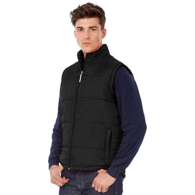 Black - Back - B&C Mens Full Zip Waterproof Bodywarmer-Gilet