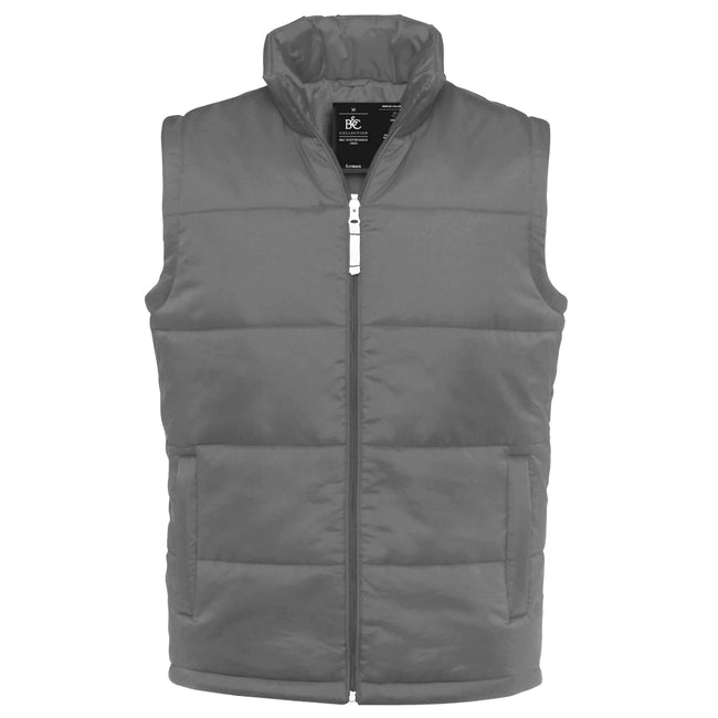 Dark Grey - Front - B&C Mens Full Zip Waterproof Bodywarmer-Gilet
