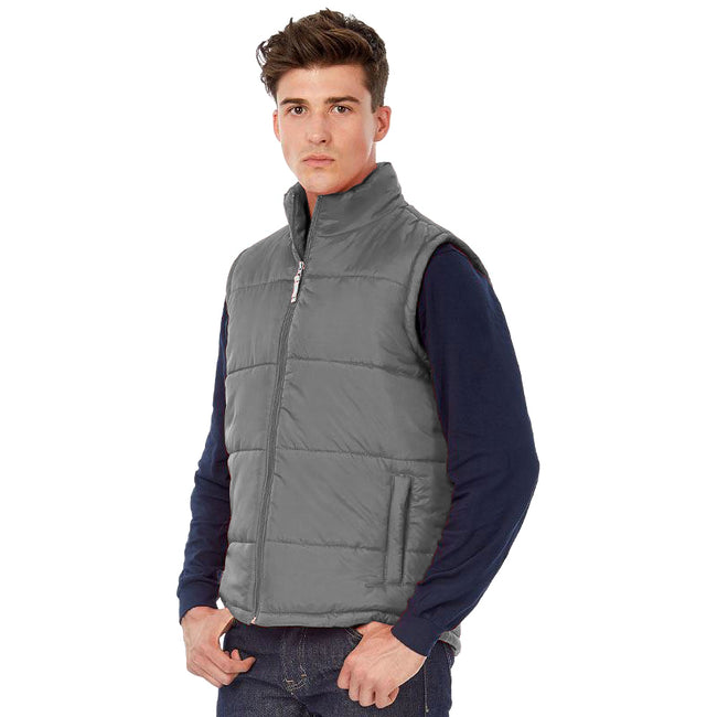 Dark Grey - Back - B&C Mens Full Zip Waterproof Bodywarmer-Gilet