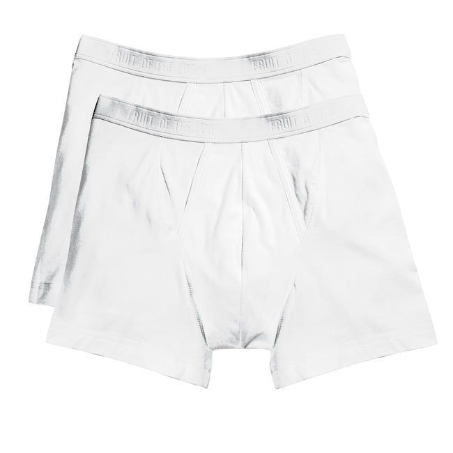 White - Front - Fruit Of The Loom Mens Classic Boxer Shorts (Pack Of 2)
