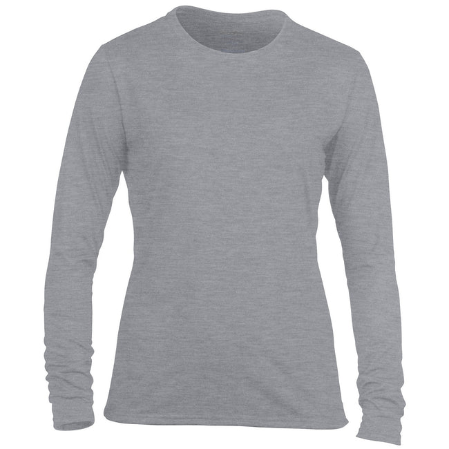 Sport Grey - Front - Gildan Womens-Ladies Performance Freshcare Long Sleeve T-Shirt