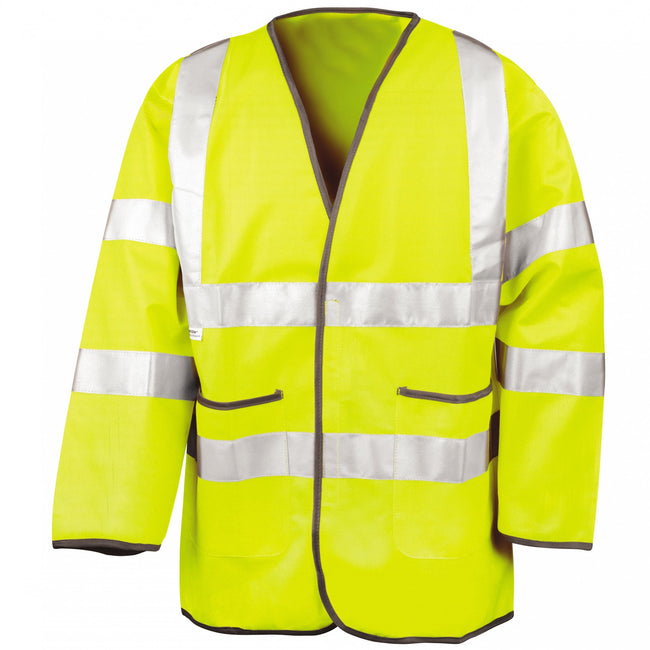 Fluorescent Yellow - Front - Result Mens High-Visibility Motorway Safety Jacket
