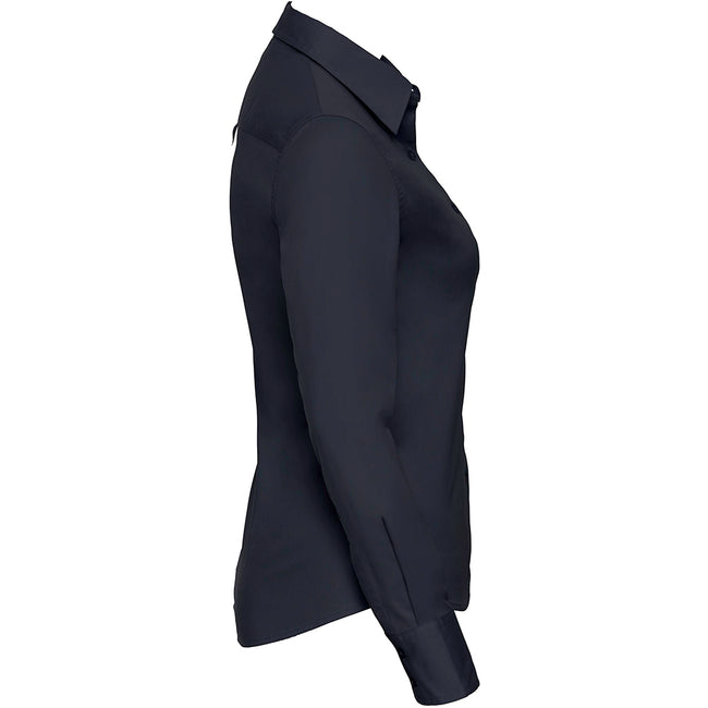 French Navy - Pack Shot - Russell Collection Womens-Ladies Long Sleeve Classic Twill Shirt