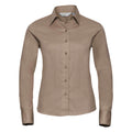 French Navy - Close up - Russell Collection Womens-Ladies Long Sleeve Classic Twill Shirt