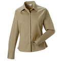 Khaki - Front - Russell Collection Womens-Ladies Long Sleeve Classic Twill Shirt
