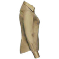 Khaki - Back - Russell Collection Womens-Ladies Long Sleeve Classic Twill Shirt