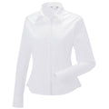 Khaki - Side - Russell Collection Womens-Ladies Long Sleeve Classic Twill Shirt