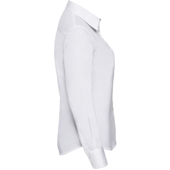 White - Back - Russell Collection Womens-Ladies Long Sleeve Classic Twill Shirt
