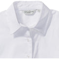 White - Side - Russell Collection Womens-Ladies Long Sleeve Classic Twill Shirt