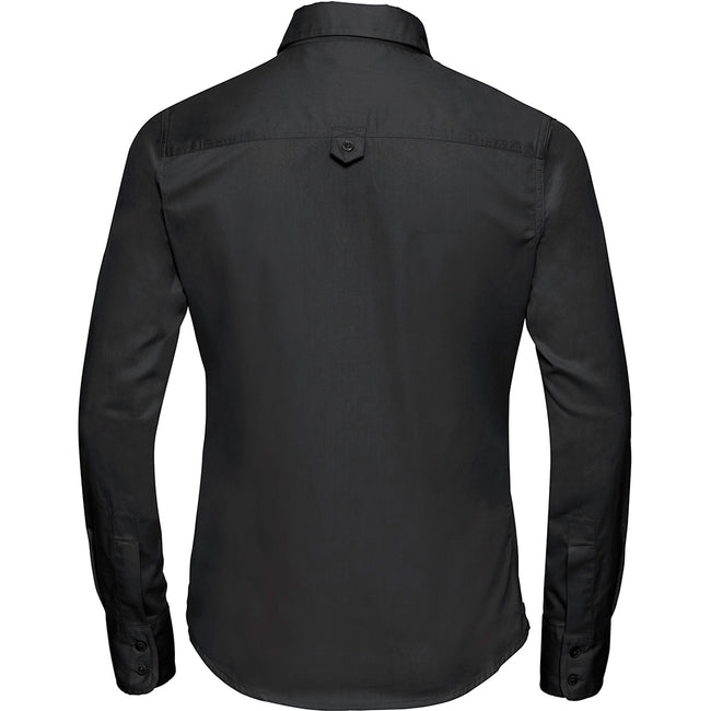 Black - Back - Russell Collection Womens-Ladies Long Sleeve Classic Twill Shirt