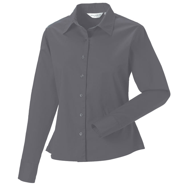 White - Close up - Russell Collection Womens-Ladies Long Sleeve Classic Twill Shirt