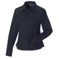 French Navy - Front - Russell Collection Womens-Ladies Long Sleeve Classic Twill Shirt