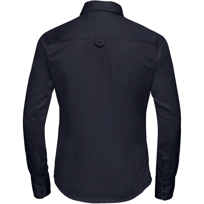 French Navy - Back - Russell Collection Womens-Ladies Long Sleeve Classic Twill Shirt