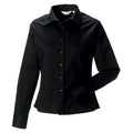 Black - Front - Russell Collection Womens-Ladies Long Sleeve Classic Twill Shirt