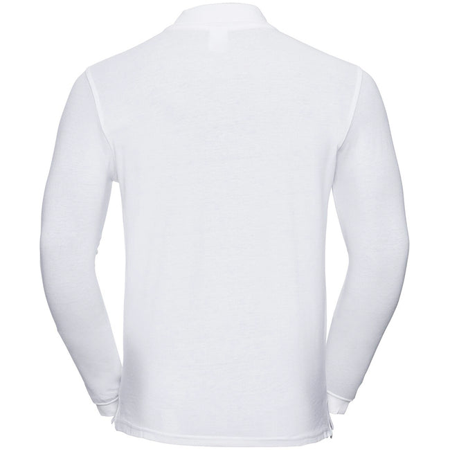 White - Back - Russell Europe Mens Long Sleeve Classic Cotton Polo Shirt