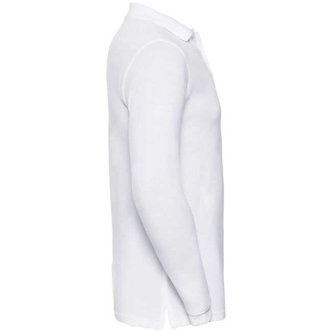White - Side - Russell Europe Mens Long Sleeve Classic Cotton Polo Shirt