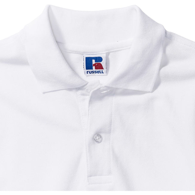 White - Lifestyle - Russell Europe Mens Long Sleeve Classic Cotton Polo Shirt